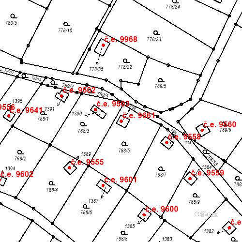 Katastrální mapa Stavební objekt Děčín III-Staré Město 9661, Děčín