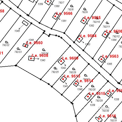 Katastrální mapa Stavební objekt Děčín III-Staré Město 9609, Děčín
