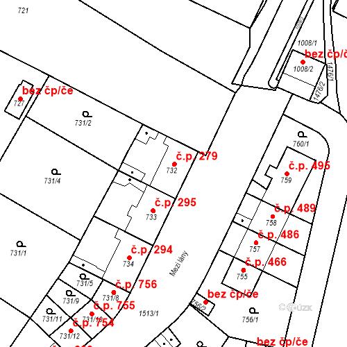 Katastrální mapa Stavební objekt Jinonice 279, Praha