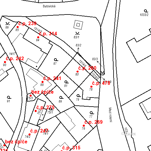Katastrální mapa Stavební objekt Jinonice 260, Praha