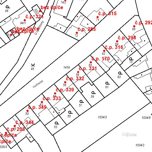 Katastrální mapa Stavební objekt Jinonice 331, Praha