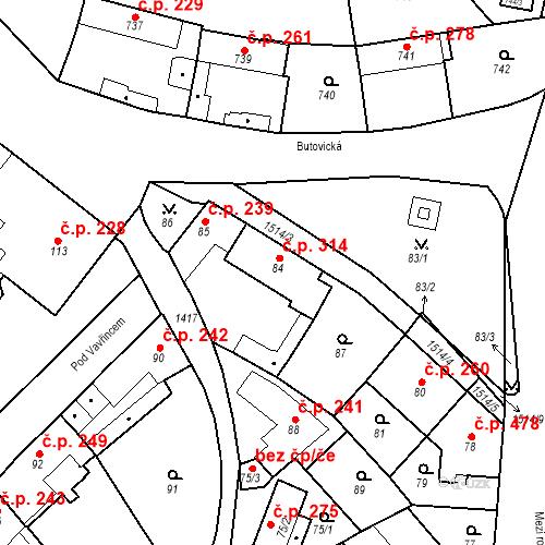 Katastrální mapa Stavební objekt Jinonice 314, Praha