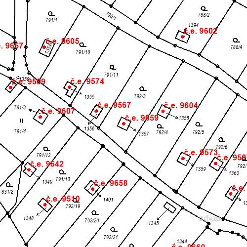 Katastrální mapa Stavební objekt Děčín III-Staré Město 9659, Děčín