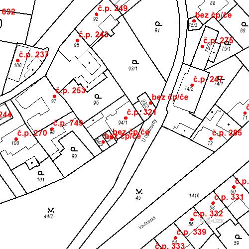 Katastrální mapa Stavební objekt Jinonice 321, Praha