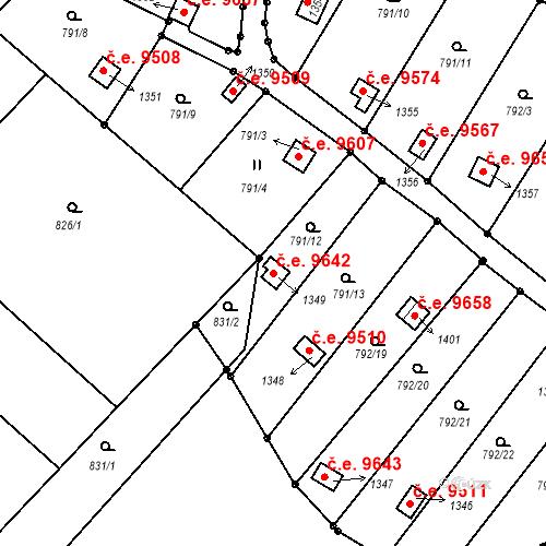 Katastrální mapa Stavební objekt Děčín III-Staré Město 9642, Děčín