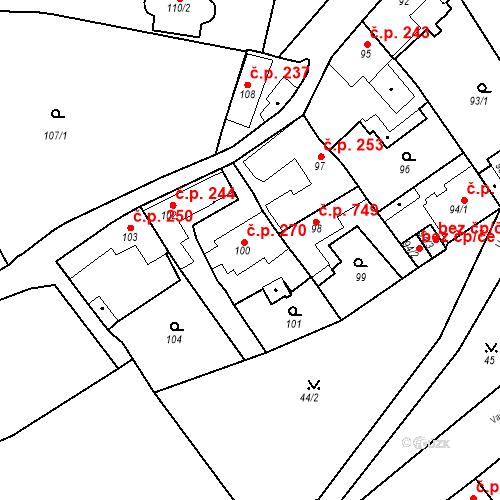Katastrální mapa Stavební objekt Jinonice 270, Praha