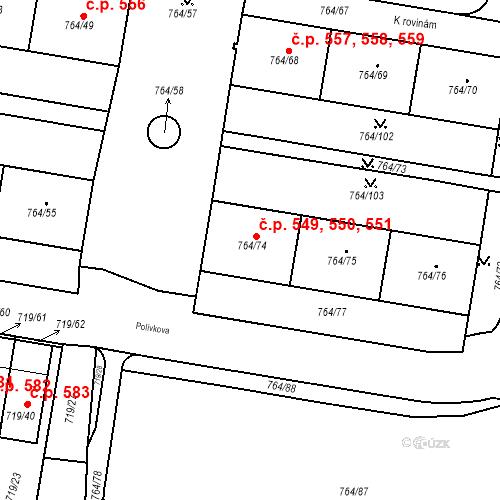 Katastrální mapa Stavební objekt Jinonice 549, 550, 551, Praha