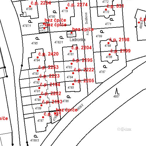 Katastrální mapa Stavební objekt Smíchov 2222, Praha