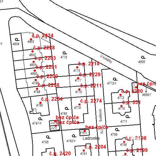 Katastrální mapa Stavební objekt Smíchov 2229, Praha