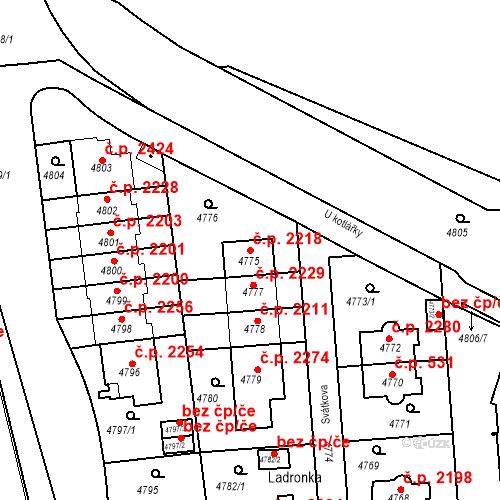 Katastrální mapa Stavební objekt Smíchov 2218, Praha