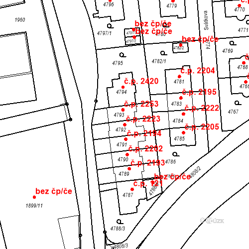 Katastrální mapa Stavební objekt Smíchov 2223, Praha