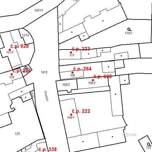 Katastrální mapa Stavební objekt Jinonice 264, Praha