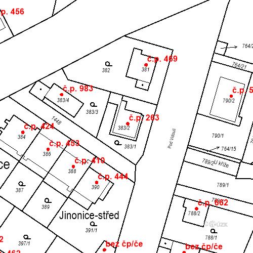 Katastrální mapa Stavební objekt Jinonice 263, Praha