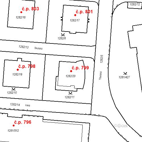 Katastrální mapa Stavební objekt Vokovice 799, Praha