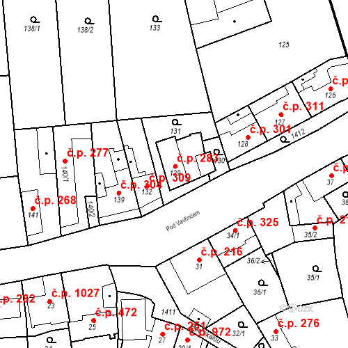 Katastrální mapa Stavební objekt Jinonice 283, Praha