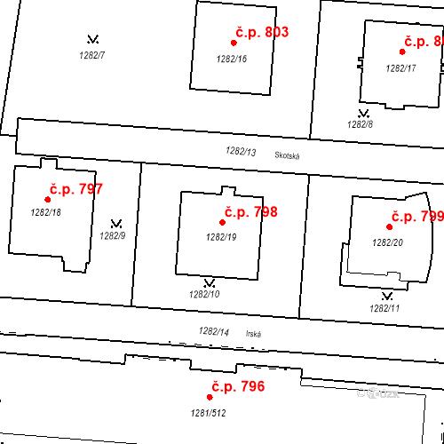 Katastrální mapa Stavební objekt Vokovice 798, Praha