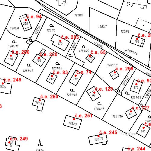 Katastrální mapa Stavební objekt Měřín 74, Rabyně
