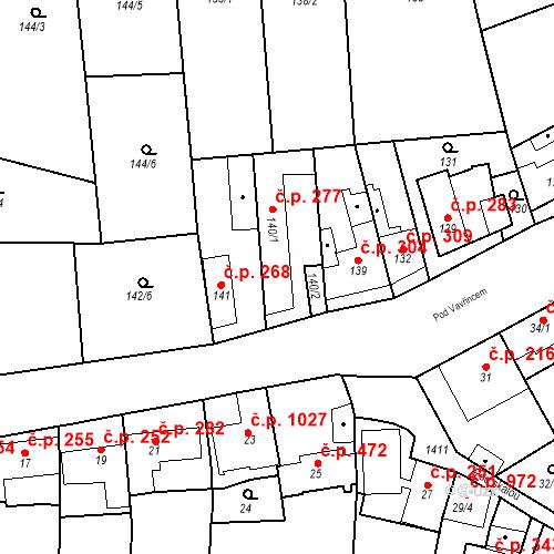 Katastrální mapa Stavební objekt Jinonice 277, Praha