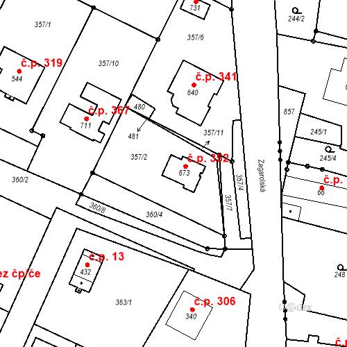 Katastrální mapa Stavební objekt Nelahozeves 352, Nelahozeves