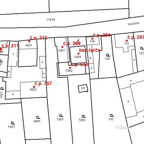 Katastrální mapa Stavební objekt Jinonice 534, Praha