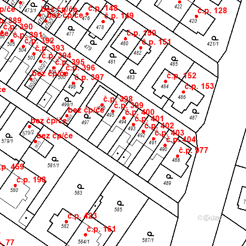 Katastrální mapa Stavební objekt Jinonice 400, Praha