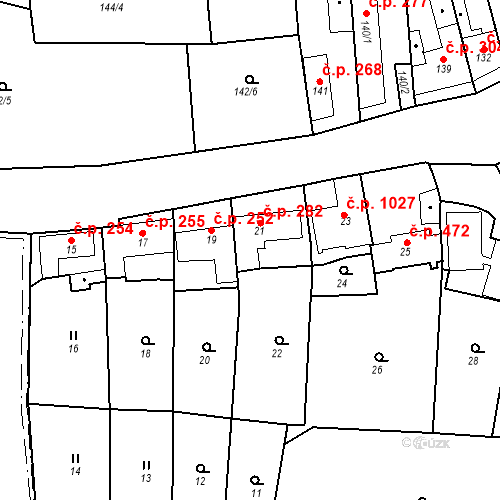 Katastrální mapa Stavební objekt Jinonice 282, Praha