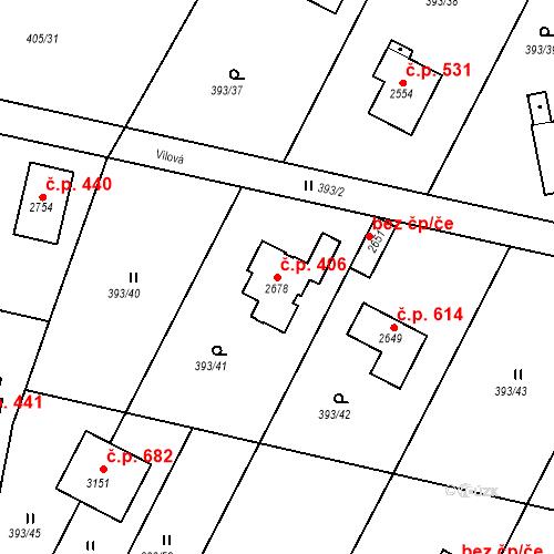 Katastrální mapa Stavební objekt Hradištko 406, Hradištko