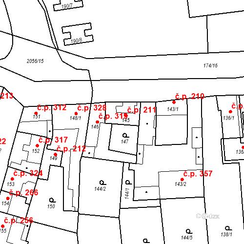 Katastrální mapa Stavební objekt Jinonice 211, Praha