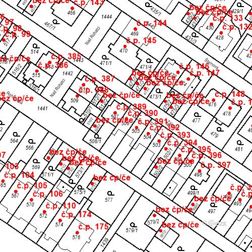 Katastrální mapa Stavební objekt Jinonice 390, Praha