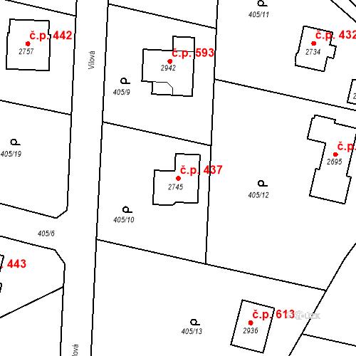 Katastrální mapa Stavební objekt Hradištko 437, Hradištko