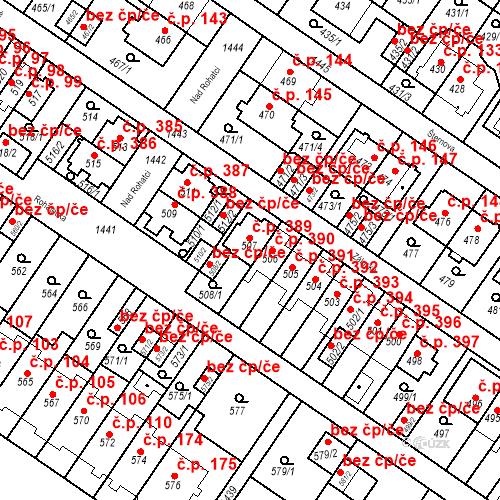 Katastrální mapa Stavební objekt Jinonice 389, Praha