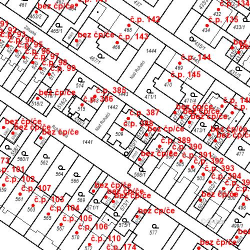 Katastrální mapa Stavební objekt Jinonice 387, Praha