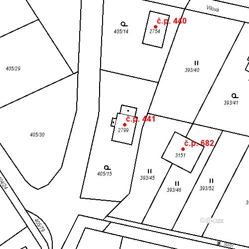 Katastrální mapa Stavební objekt Hradištko 441, Hradištko