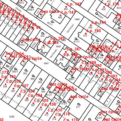 Katastrální mapa Stavební objekt Jinonice 388, Praha