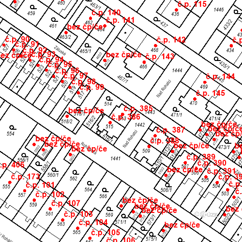 Katastrální mapa Stavební objekt Jinonice 385, Praha
