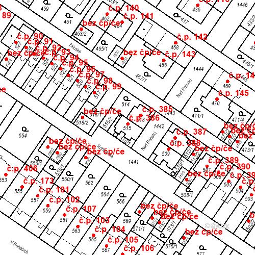 Katastrální mapa Stavební objekt Jinonice 386, Praha