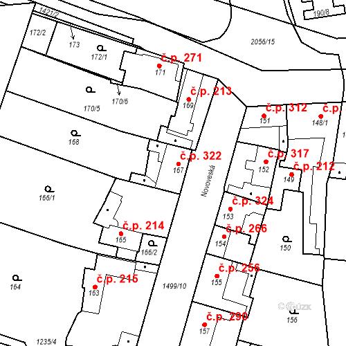 Katastrální mapa Stavební objekt Jinonice 322, Praha