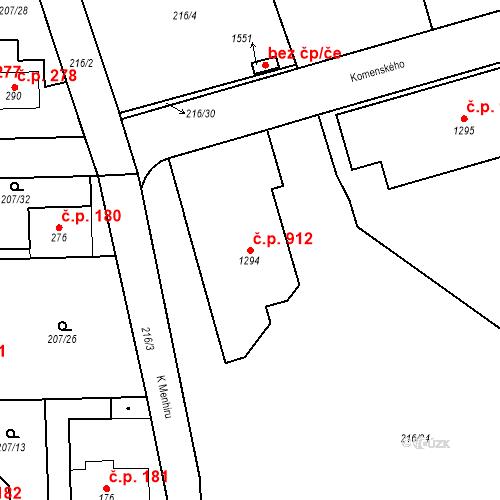 Katastrální mapa Stavební objekt Horoměřice 912, Horoměřice