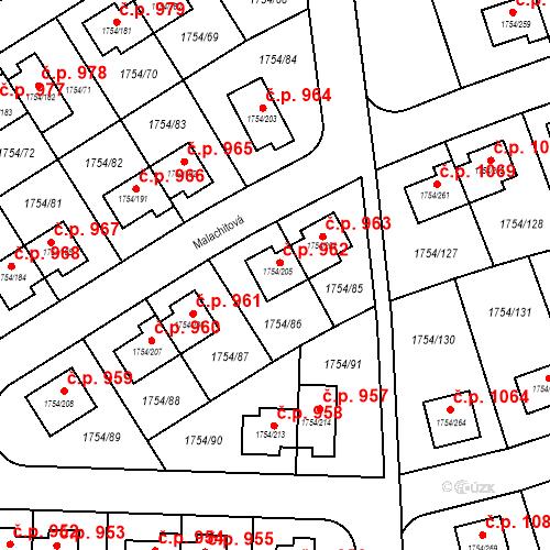 Katastrální mapa Stavební objekt Slivenec 962, Praha