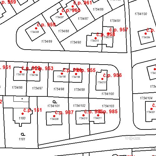 Katastrální mapa Stavební objekt Slivenec 955, Praha
