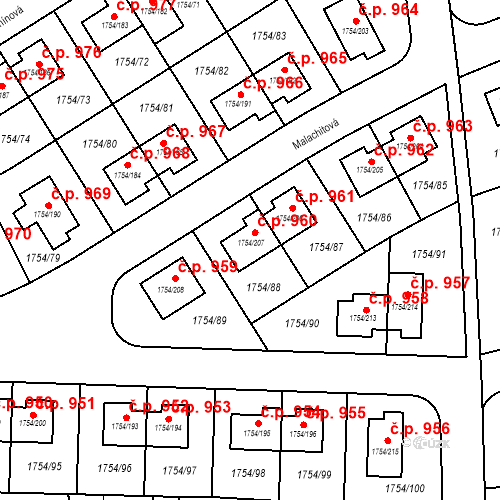 Katastrální mapa Stavební objekt Slivenec 960, Praha