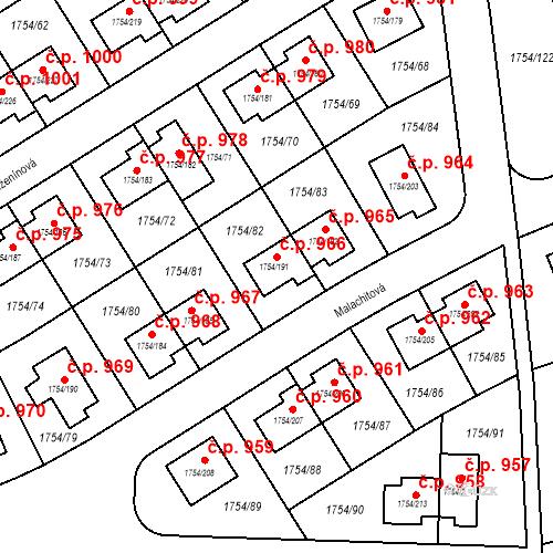 Katastrální mapa Stavební objekt Slivenec 966, Praha