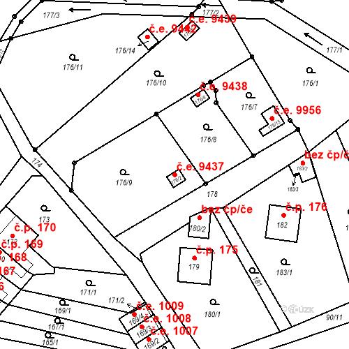 Katastrální mapa Stavební objekt Děčín XXXI-Křešice 9437, Děčín