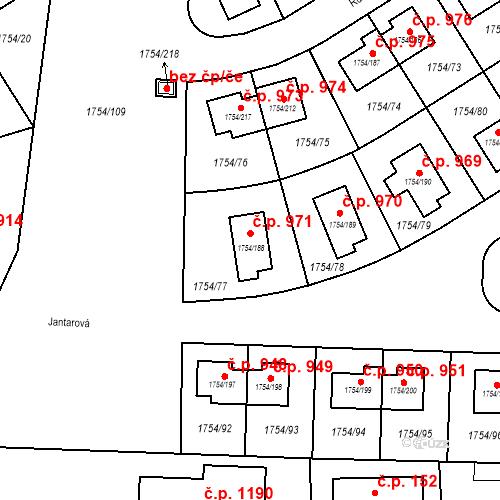 Katastrální mapa Stavební objekt Slivenec 971, Praha