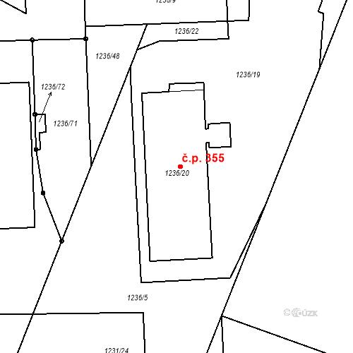 Katastrální mapa Stavební objekt Jinonice 355, Praha
