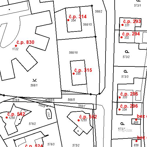 Katastrální mapa Stavební objekt Vrané nad Vltavou 315, Vrané nad Vltavou