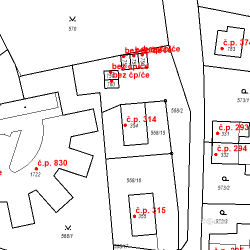 Katastrální mapa Stavební objekt Vrané nad Vltavou 314, Vrané nad Vltavou