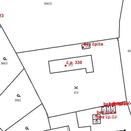 Katastrální mapa Stavební objekt Vrané nad Vltavou 330, Vrané nad Vltavou