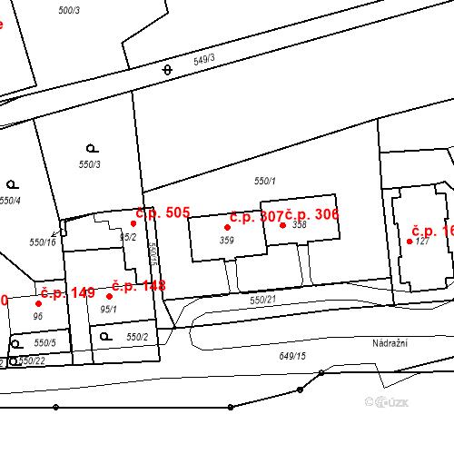 Katastrální mapa Stavební objekt Vrané nad Vltavou 307, Vrané nad Vltavou