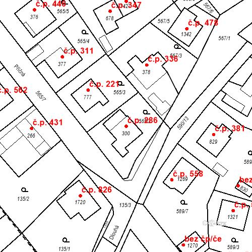 Katastrální mapa Stavební objekt Vrané nad Vltavou 286, Vrané nad Vltavou